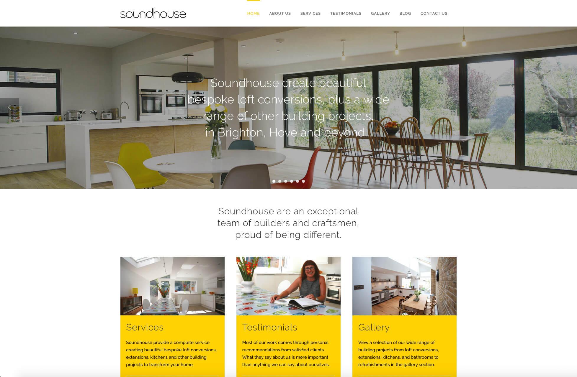Soundhouse Loft Conversions website design