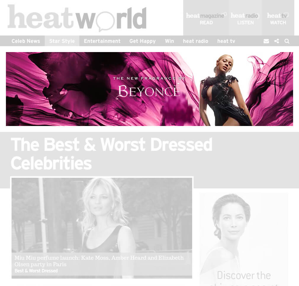 Beyonce Heat Wild Orchid banner ad