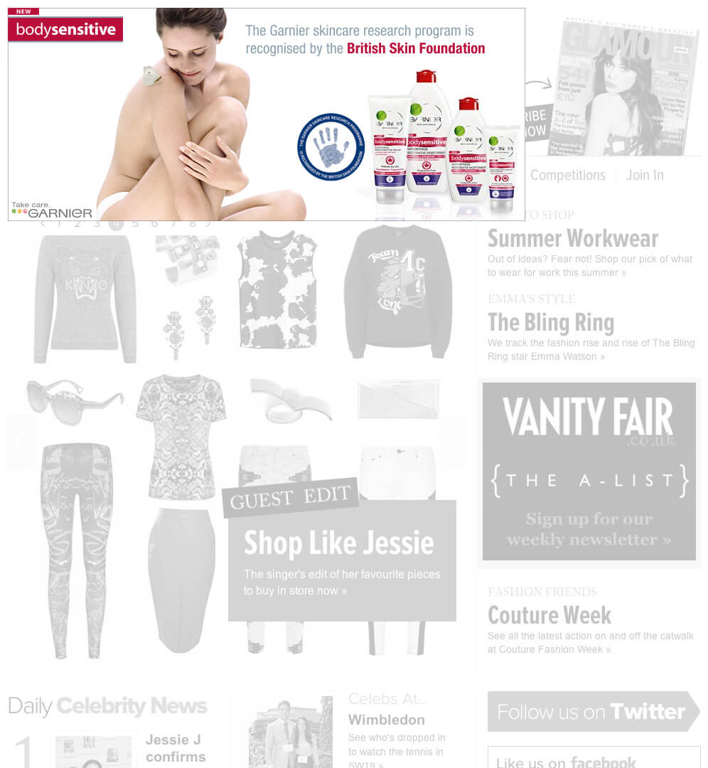 Garnier Bodysensitive banner ad
