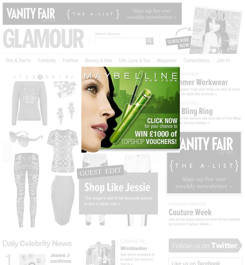 Maybelline Define-a-lash banner ad